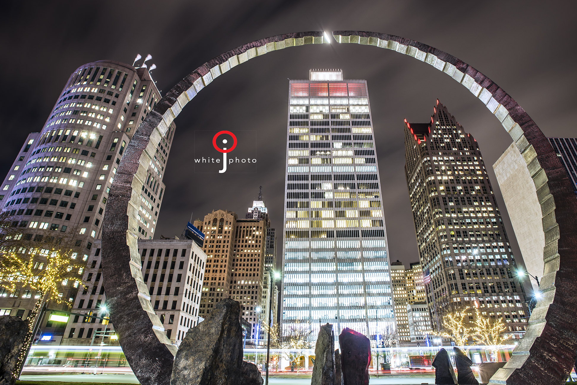 Photo of Downtown Detroit. Photo of Hart Plaza in downtown Detroit.