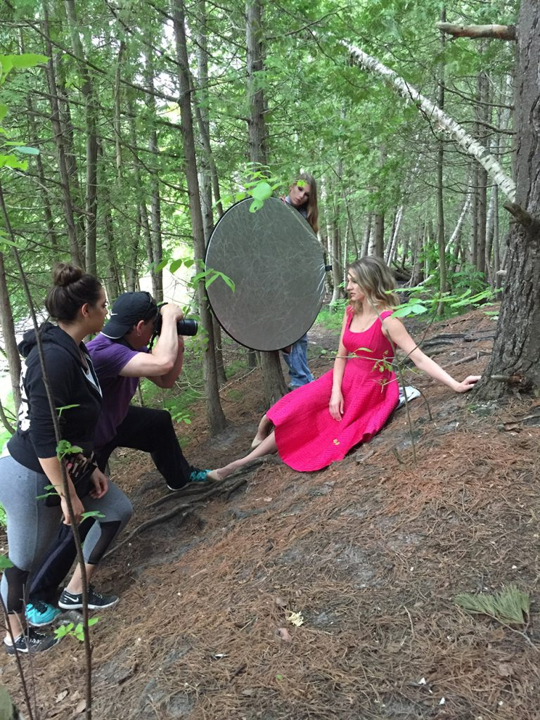Metro Detroit photographer Jeff White, Stefana Rita, Ashley and Therese Sullivan and Brooke Hayes shooting near the Sleeping Bear Sand Dunes