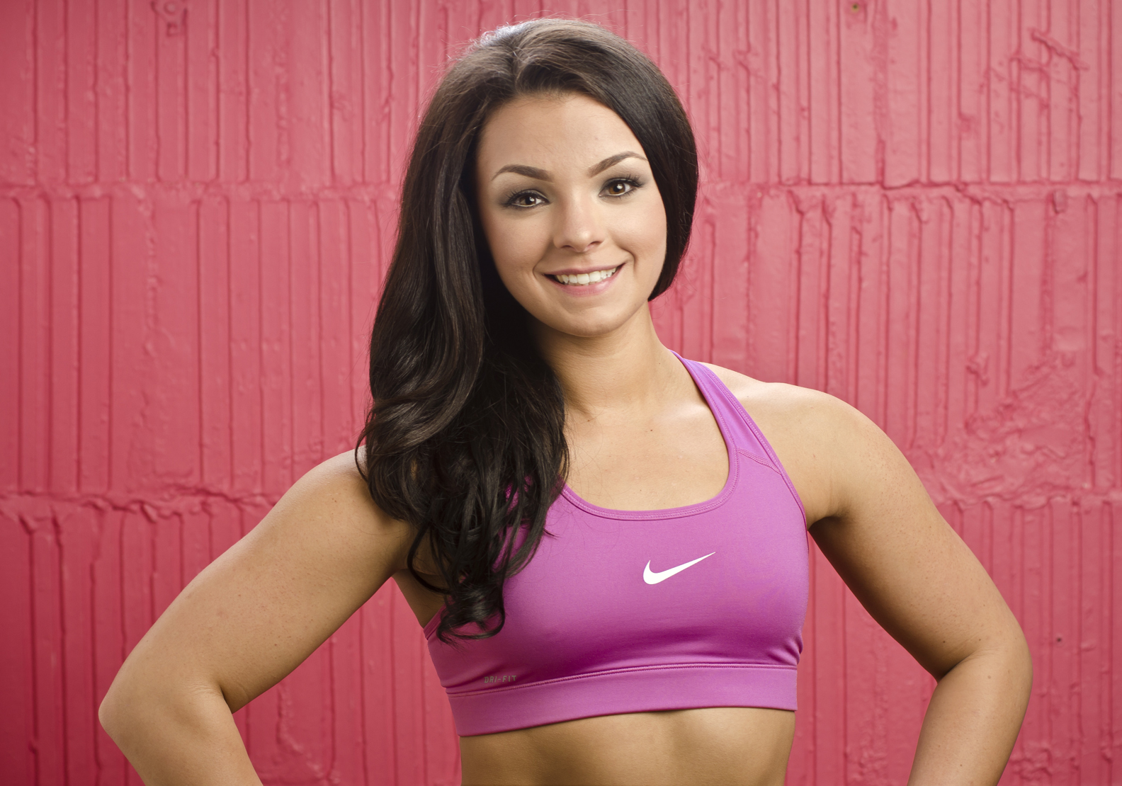beautiful athletic girl in sports bra high school photo